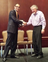 Shaking hands with Bob Braden on his award.